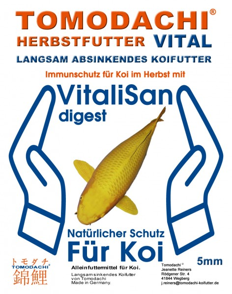 Herbstfutter Koi, sinkendes Gesundheitsfutter für Koi mit Vitalisan Monoglyceriden, Immunschutz 2kg
