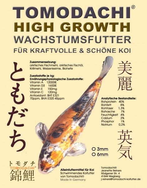 Wachstumsfutter Koi, Aufzuchtfutter, Kraftfutter Koi,Tomodachi High Growth 6mm 2kg