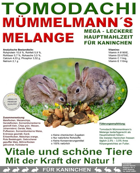 Kaninchenfutter, Hasenfutter pelletfrei - Mümmelmanns Melange 15kg Sack