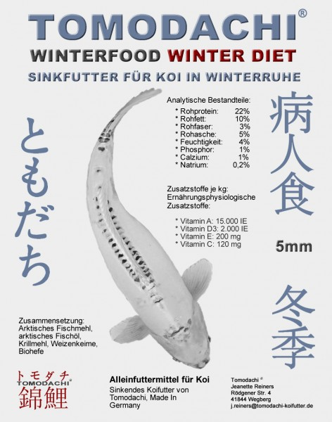 Sinkfutter für Koi, Winterfutter, Tomodachi WinterDiet, Energie und Schonkost für Koi 5mm 15kg